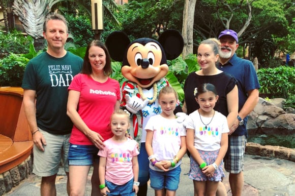 Bowman and Cellura families at breakfast with Mickey