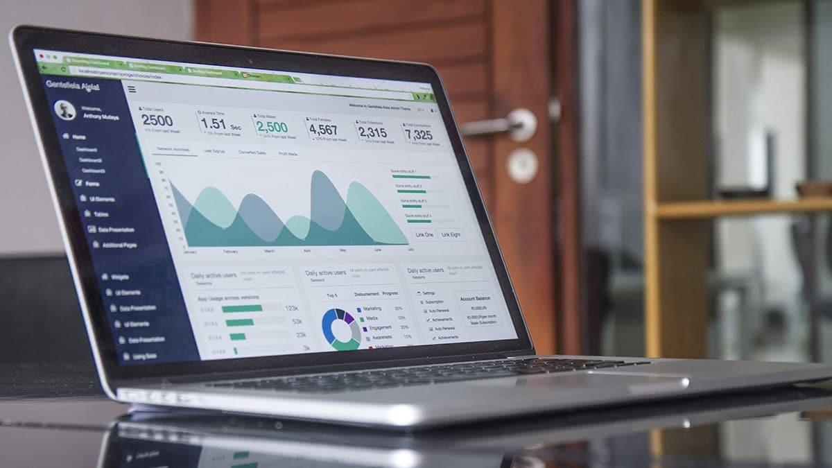 Analytics charts on a laptop